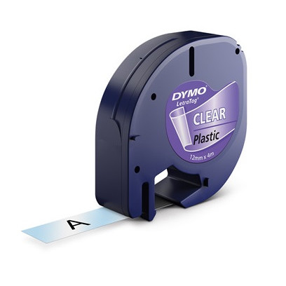 DYMO S0721550 LetraTAG - Labeltape 12 mm sort på klar