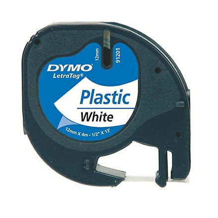 Dymo LetraTag tape plastic 12mmx4m white