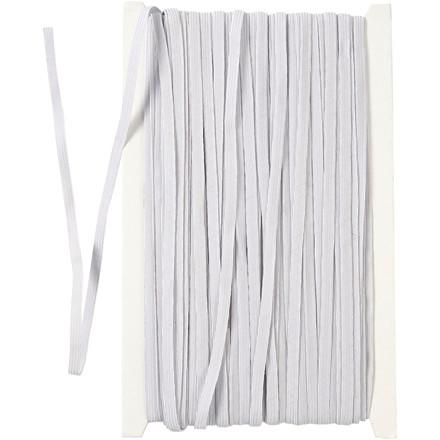Elastikbånd, B: 6 mm, hvid, 50m