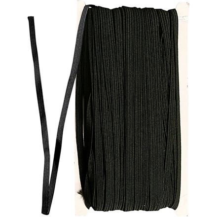 Elastikbånd, B: 6 mm, sort, 50m