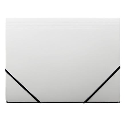 Elastikmappe A4 - Q-Line hvid blank karton med 3 klapper