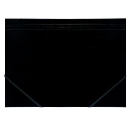 Elastikmappe A4 - Q-Line sort blank karton med 3 klapper