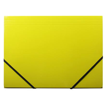 Elastikmappe - Q-Line A4 gul 400g karton med 3 klapper
