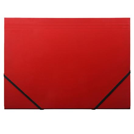 Elastikmappe - Q-Line A4 rød blank karton med 3 klapper
