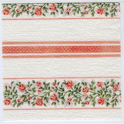 Emeli serviet, 1-lags, 1/4 fold, design, hvid/rød/grøn, papir, 33cm x 33cm