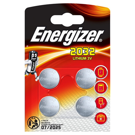 Energizer CR2032 Lithium Knapbatteri - 4 stk