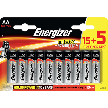 Energizer Max AA/E91 (15+5 pack)