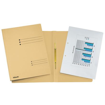 Karton arbejdsmappe A4 Esselte med split og overligger 621054 - chamois lysegul