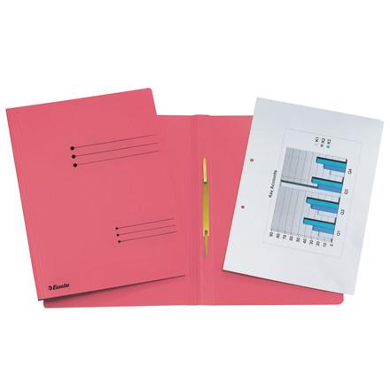 Karton arbejdsmappe A4 Esselte med split og overligger 621056 - Rød