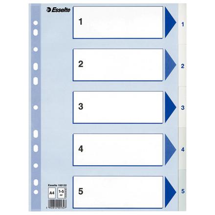 Esselte faneblade 1-5 A4 - hvide plastfaner med blå kartonforblad