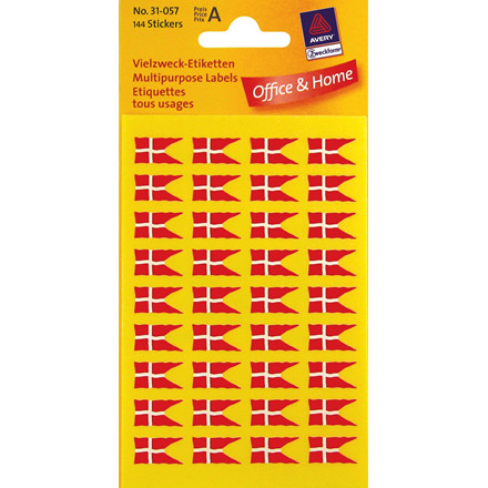 Avery 31-057 - Danske flag klistermærker 16 x 9 mm - 144 etiketter