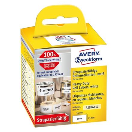 Etiket Avery stærk printer 25x54mm 160stk polyester