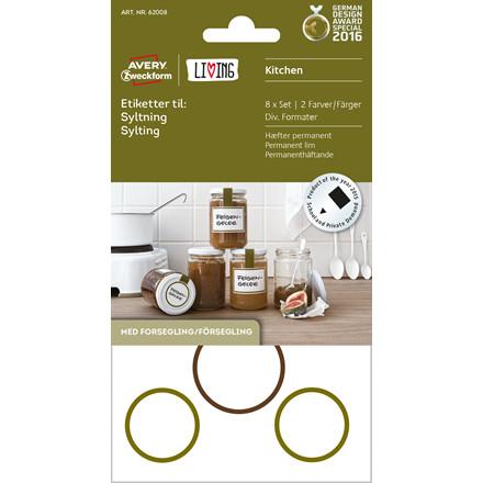 Avery 62008 - Etiketter med forsegling til glas og flasker - 8 sæt