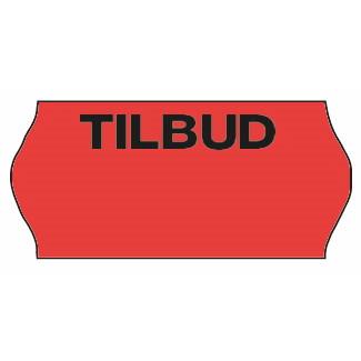 Etiket - Meto 26 x 12 mm fluor. rød perm. lim 2 TILBUD