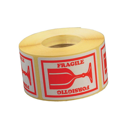 """Etiketter - selvklæbende """"forsigtig/fragile"""" 45 x 65 mm rød - 1000 stk"""