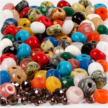 Facetperler, str. 8x14 mm, hulstr. 4 mm, ass. farver, 100pk., ca. 372 stk.