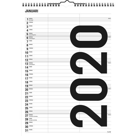 Familiekalender Black & white 21x29,7cm 2 kolonner 20 0665 10