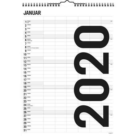 Familiekalender Black & white 29,4x39cm 6 kolonner 20 0665 00