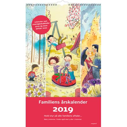 Familiens årskalender 2019 Mayland 5 kolonner med illustrationer 29 x 48 cm - 19 0662 30