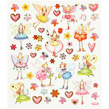 Fancy Glitterstickers, ark 15x16,5 cm, alfer, 1ark