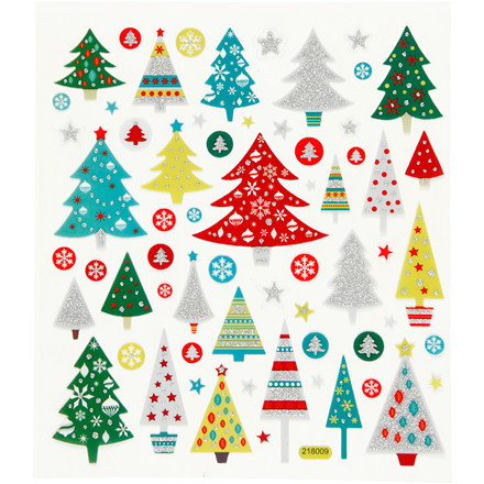 Glitter stickers ark 15 x 16,5 cm - juletræ
