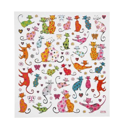 Fancy stickers, ark 15x16,5 cm, Katte, 1ark