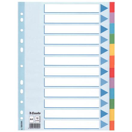 Faneblad karton Esselte A4 12-delt - farvede faner med forside