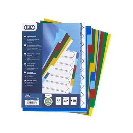 Faneblade 1-10 Elba A4 Maxi - farvede faner i plast og hvid kartonforside