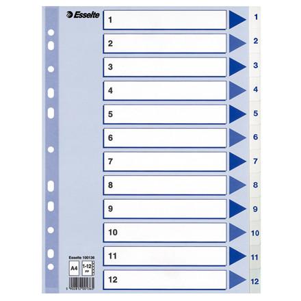 Faneblade 1-12 Esselte A4 - hvide plastfaner og blå kartonforside