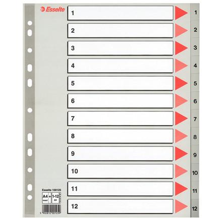 Faneblade 1-12 med kartonforblad - Esselte A4 maxi grå faner i plast