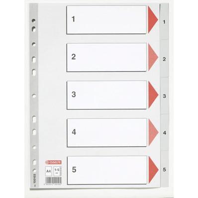 Faneblade 1-5 Esselte A4 - Grå plastfaner med kartonforblad