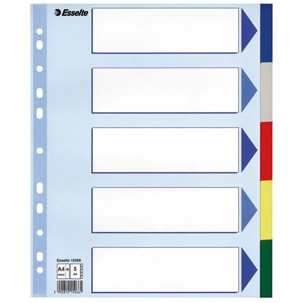 Faneblade 1-5 Esselte A4 maxi - farvede plastfaner med kartonforblad