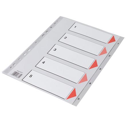 Faneblade 1-5 - Q-Line A4 grå med kartonforblad