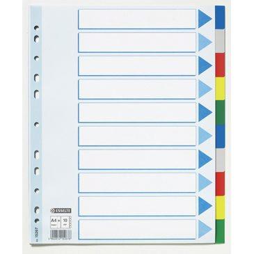 Faneblade A4 maxi 1-10 Esselte - farvede plastfaner og kartonforblad