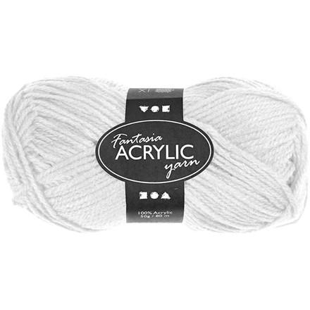Fantasia Akrylgarn, L: 80 m, hvid, 50g