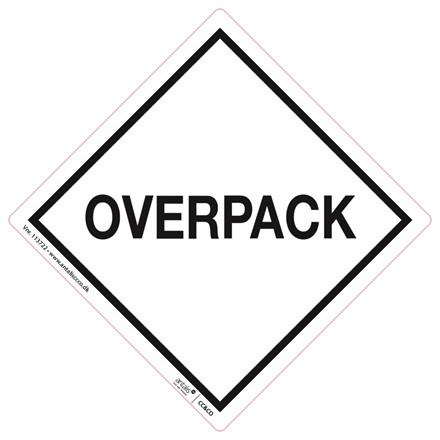 Fare etiket - med tryk Overpack hvid/sort 100 x 100 mm - 250 stk