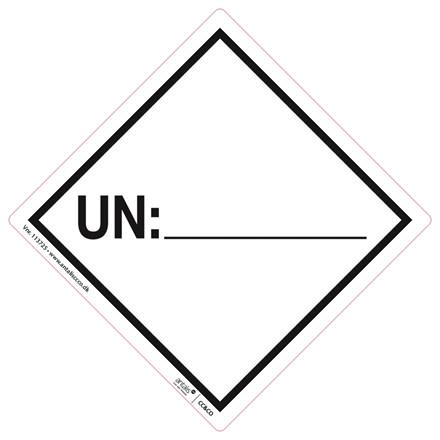 Fare etiket - UN mærke hvid/sort 100 x 100 mm - 250 stk