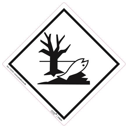 Fareetiket - Miljøfare hvid og sort 100 x 100 mm -  250 stk