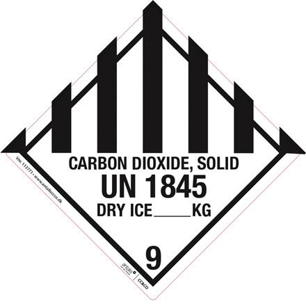 Fareetiket - UN1845 Dry Ice-Tøris hvid og sort 100 x 100 mm - 250 stk