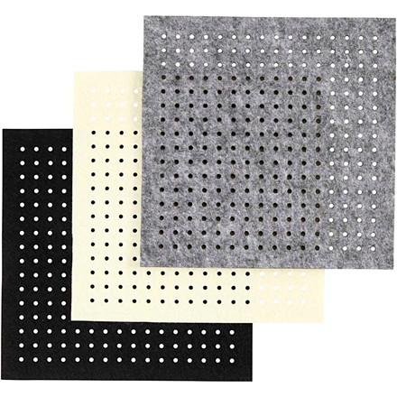 Filt med huller ark 20 x 20 cm tykkelse 3 mm grå off-white sort | 12 ark