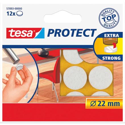 Filtpuder tesa hvide - Ø 22 mm - 12stk i en pakke
