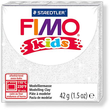 FIMO® Kids ler hvid med glitter - 42 gram