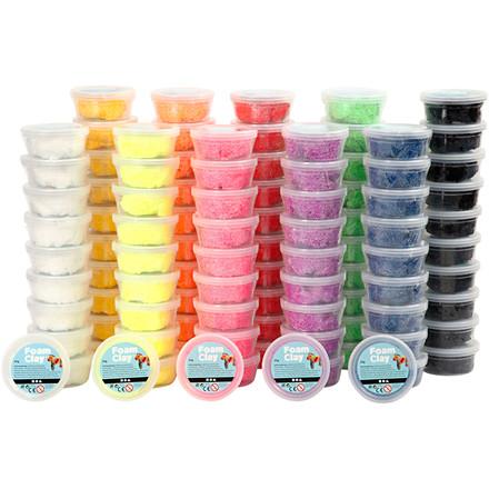 Foam Clay® assorteret farver | 10 x 10 dåser