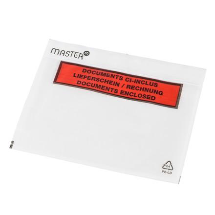 Følgeseddelslomme Master'In 175X117mm C6 transparent m/tryk 1000stk/kar