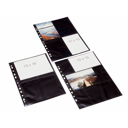 Fotolommer sort 10x15 cm højformat A4 med 8 lommer - 10 stk.