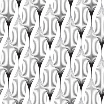 Frokostserviet, 3-lags, 1/4 fold, design, sort/hvid, 100% nyfiber, 33cm x33cm