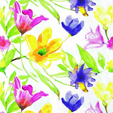 Frokostserviet, Lucy, 3-lags, 1/4 fold, design, blomster, 100% nyfiber, 33cm x 33cm