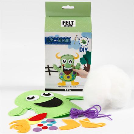 Funny Friends størrelse 21,5 x 18 cm grøn monster | Fuzzy