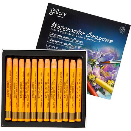 Gallery Akvarel, tykkelse 8 mm, L: 9,3 cm, gul orange (308), , 12stk.
