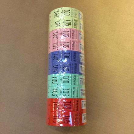 Garderobemærker 5 farver 2-delt - rulle á 500 stk.